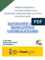 Solar Desalination – Recent Research Activities of Plataforma Solar de Almeria