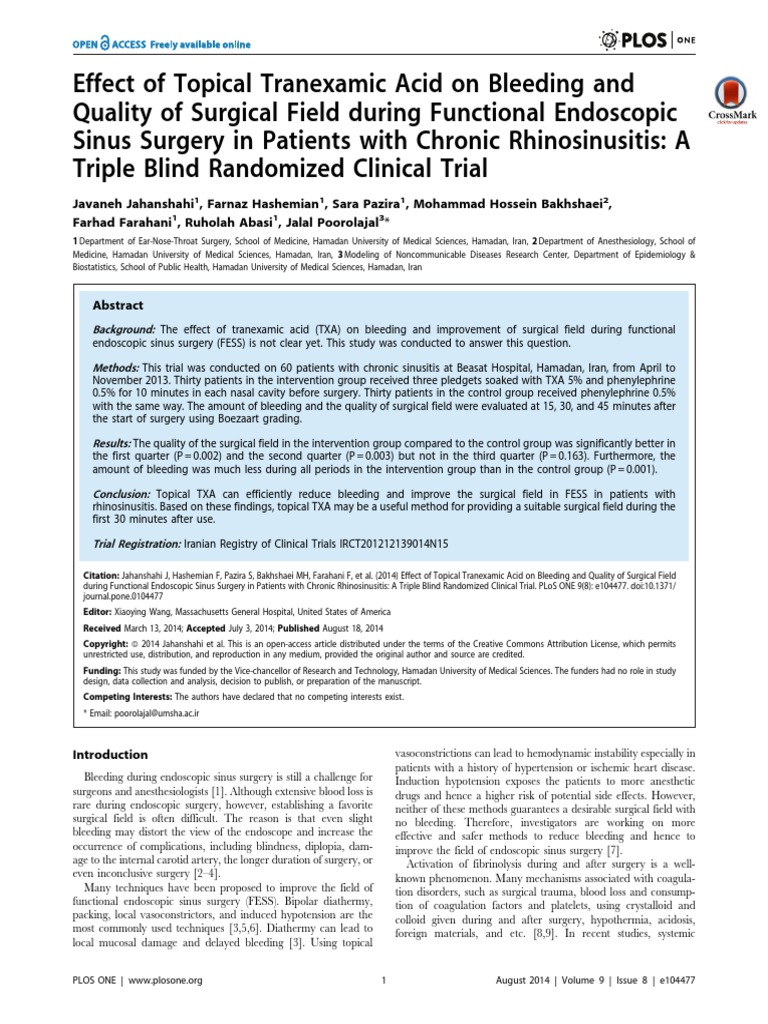 Effect of Topical Tranexamic Acid on Bleeding and Quality of