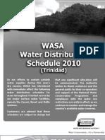 WASA 2010 Water Distribution Schedule (Trinidad)