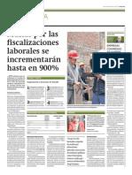 Multas Por Fiscalizaciones Laborales Incrementaran Hasta en 900