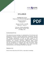 Fixed Income Portfolio Management Syllabus - Spring 2009