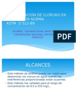 Determinación de Cloruro en Agua Según Norma ASTM D512-89