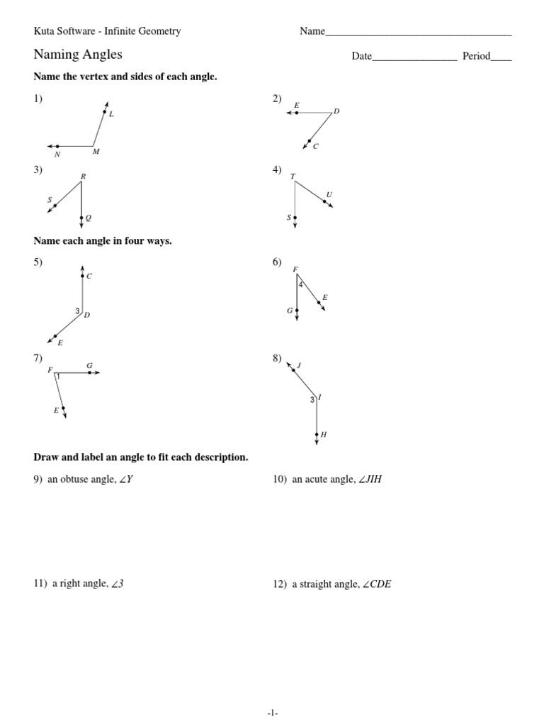 worksheet Naming Angles 2 naming angles angle euclidean plane geometry
