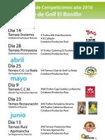 Calendario Club de Golf El Bonillo 2010