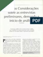 Algumas Considerações sobre as entrevistas preliminares, demanda e início de análise
