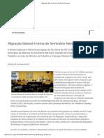 Migração Laboral é Tema de Seminário Mercosul