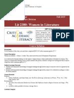 Lit 2380 Syllabus Policy Fall 2015