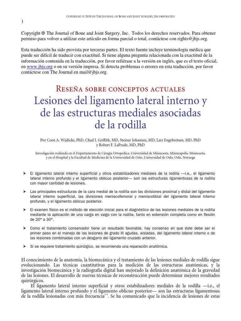 Lesiones Del Ligamento Lateral Interno y de Las Estructuras Mediales ...