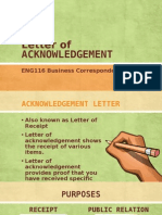 Letter of Acknowledgement