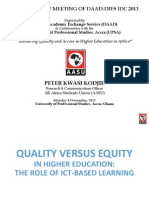 Quality vs Equity, Role of ICT Based Learning - Peter Kwasi KODJIE, AASU_Final