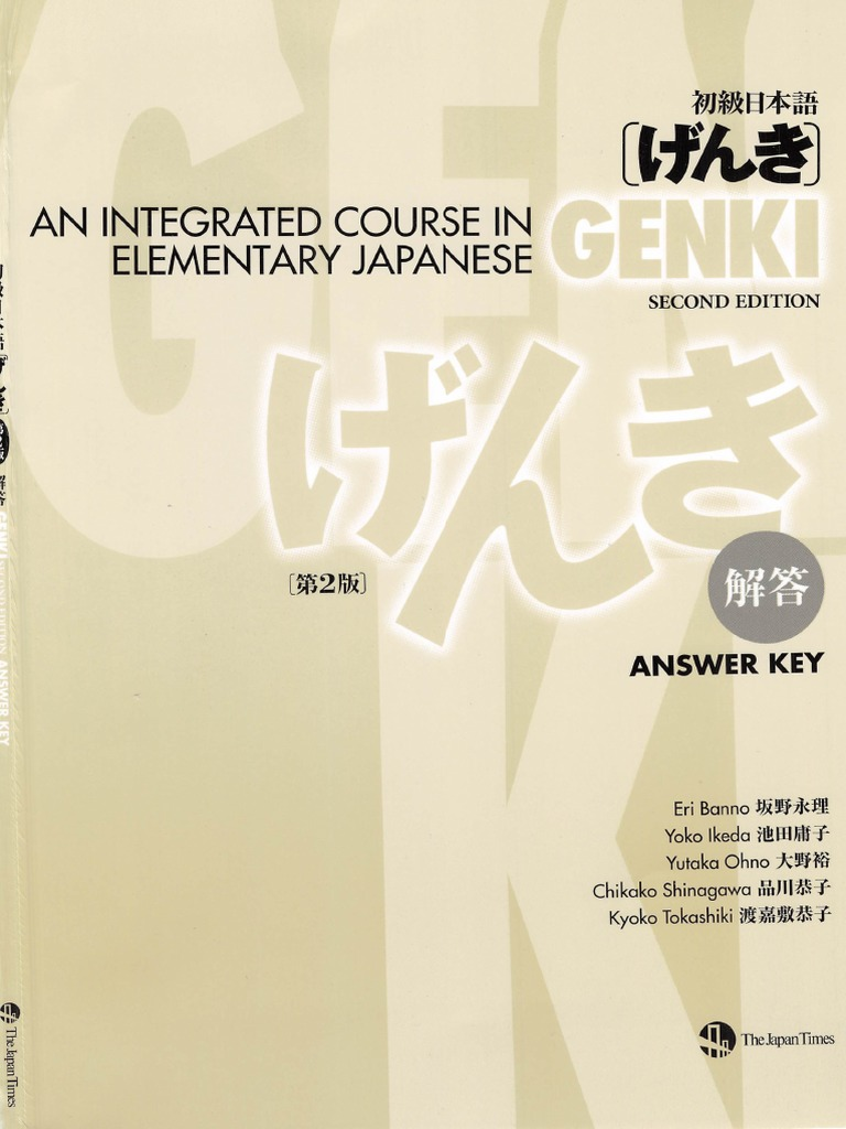 Genki - An Integrated Course in Elementary Japanese Answer Key ...