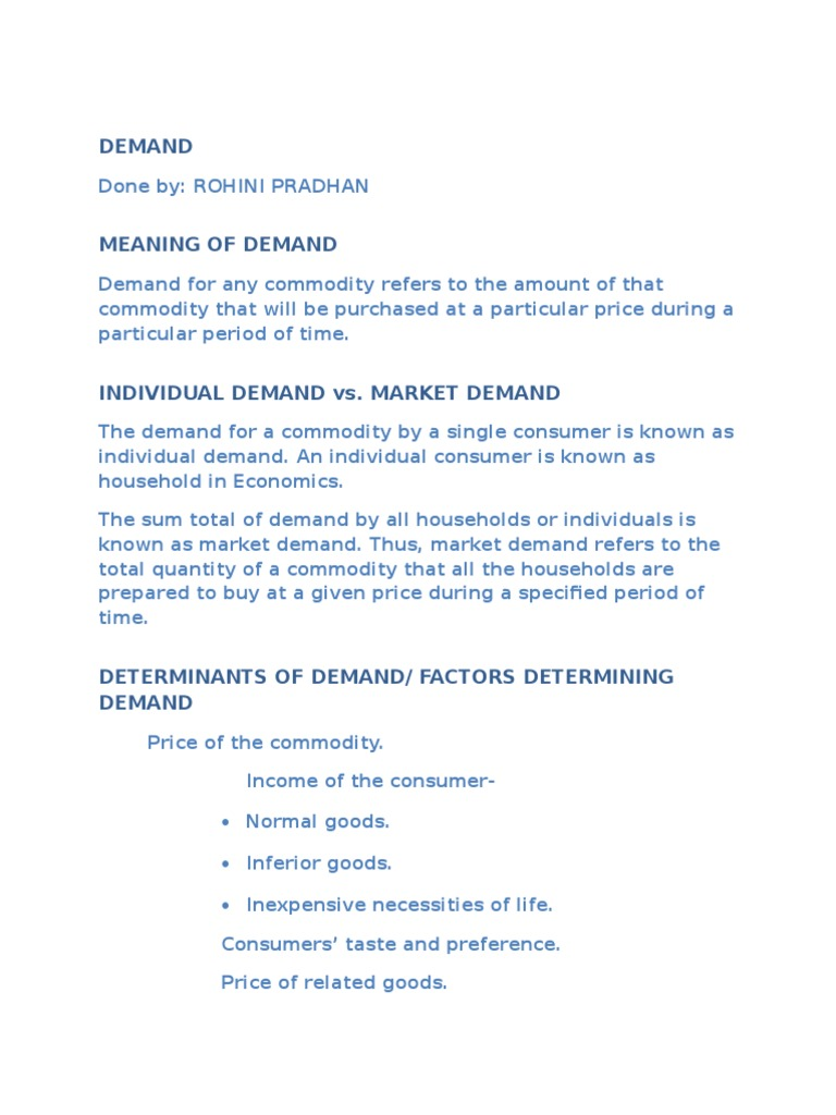 factors determining demand
