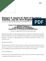 President Aquino's First SONA