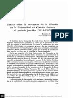 PEÑA, R. - Noticia Sobre La Enseñanza de La Filosofía en La Universidad de Córdoba Durante El Período Jesuítico (1614 - 1767)