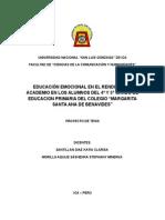 Educacion Emocional en El Rendimiento Academico Del Colegio Maragarita