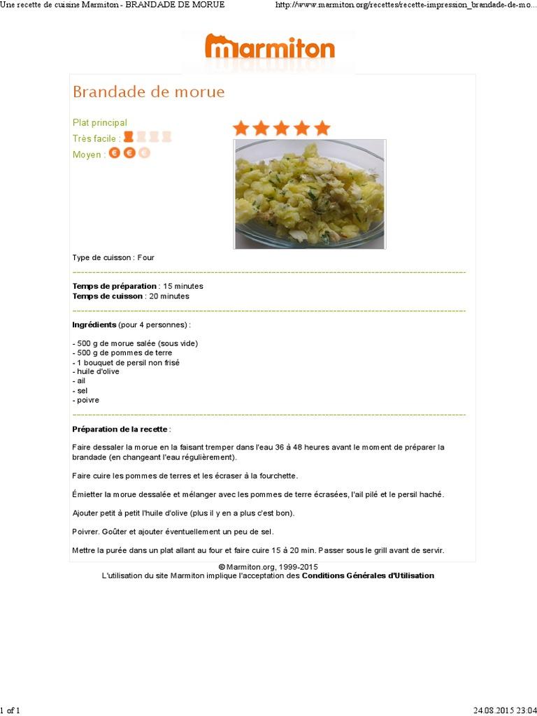 Une Recette De Cuisine Marmiton Brandade De Morue