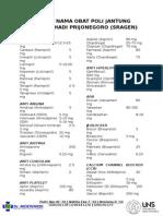 Daftar Nama Obat Poli Jantung