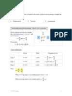 Calculus Kinematics Notes Dl