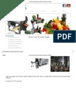 Fruit Pulp & Juice Plant, RTS Juice Plant, Fruit Juice Plant, Fruit Pulp Plant