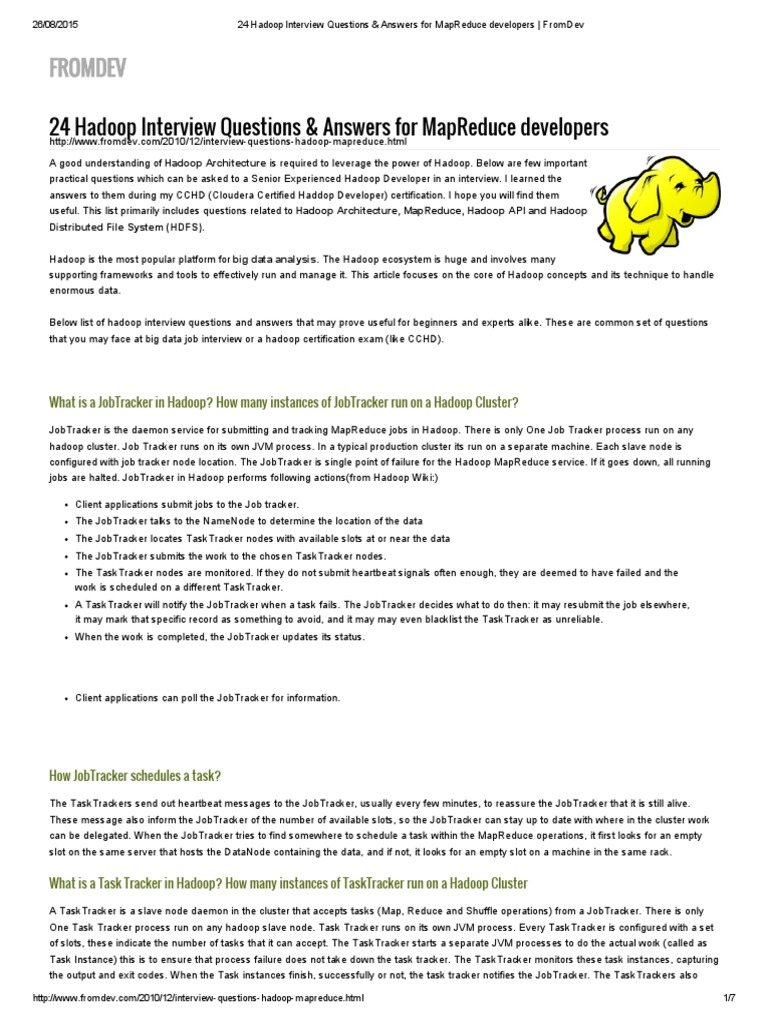 24 Hadoop Interview Questions & Answers for MapReduce