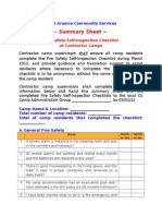 Summary Sheet for Self Inspection Checklist at Contractor Camps