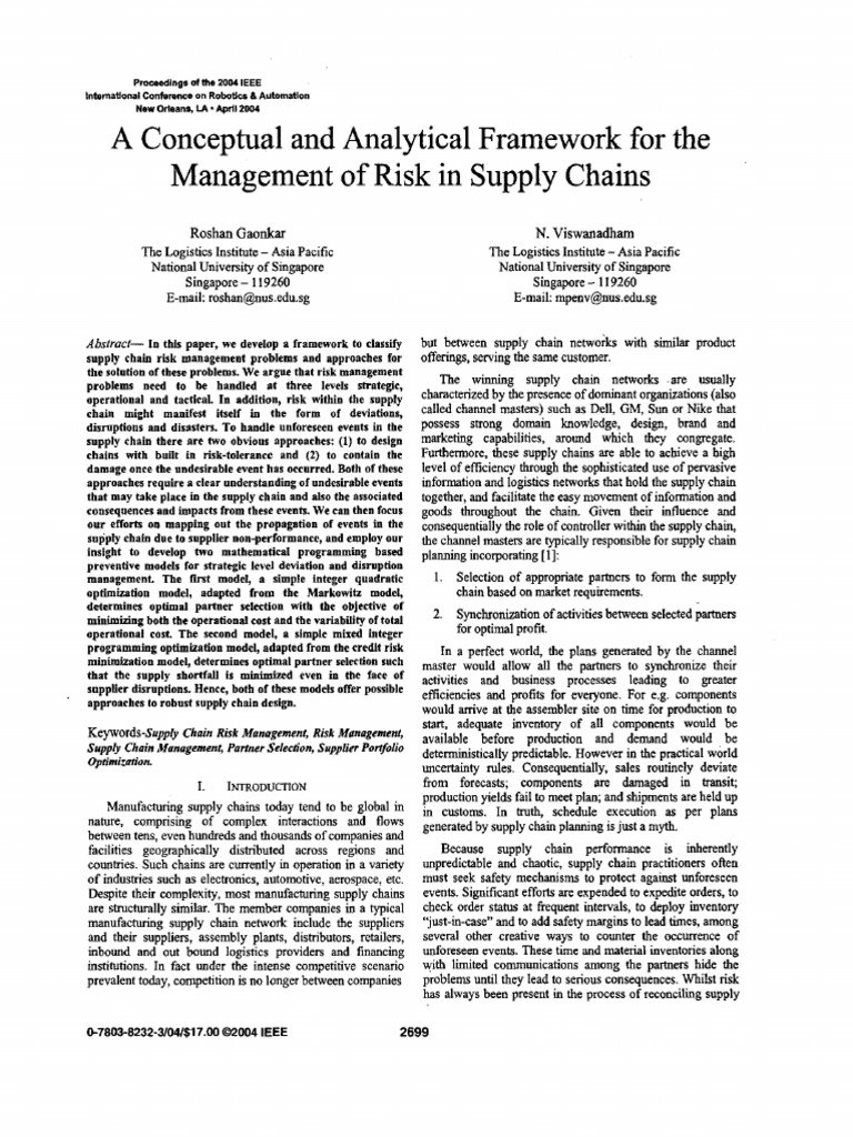 A Conceptual and Analytical Framework for The | Supply Chain
