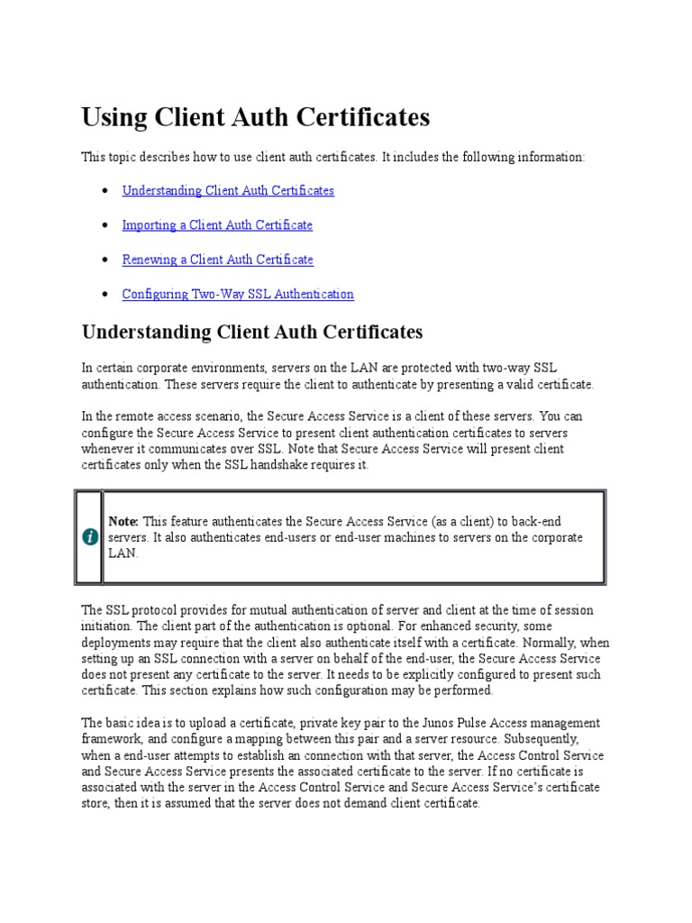 Using Client Auth Certificates Transport Layer Security Public