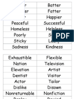 Prefixes and Suffixes Word List