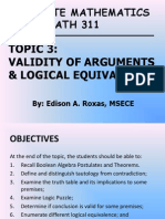 03_ECE MATH 311_Validity of Arguments and Logical Equivalence