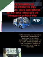 Cuestionario de Conocimientos. 2013