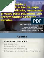 Procesamiento y comercialización de papa blanca dializada, empacada al vacío para pacientes con Enfermedades Crónicas Renales