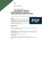 Polis 10323 38 Pueblos Indigenas Saberes y Descolonizacion Procesos Interculturales en America Latina