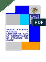 Manual de Normas,Politicas y Líneamientos Para La Administracion Del Personal Del ISSSTE