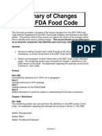 Summarry of Changes in FDA Food Code 2005
