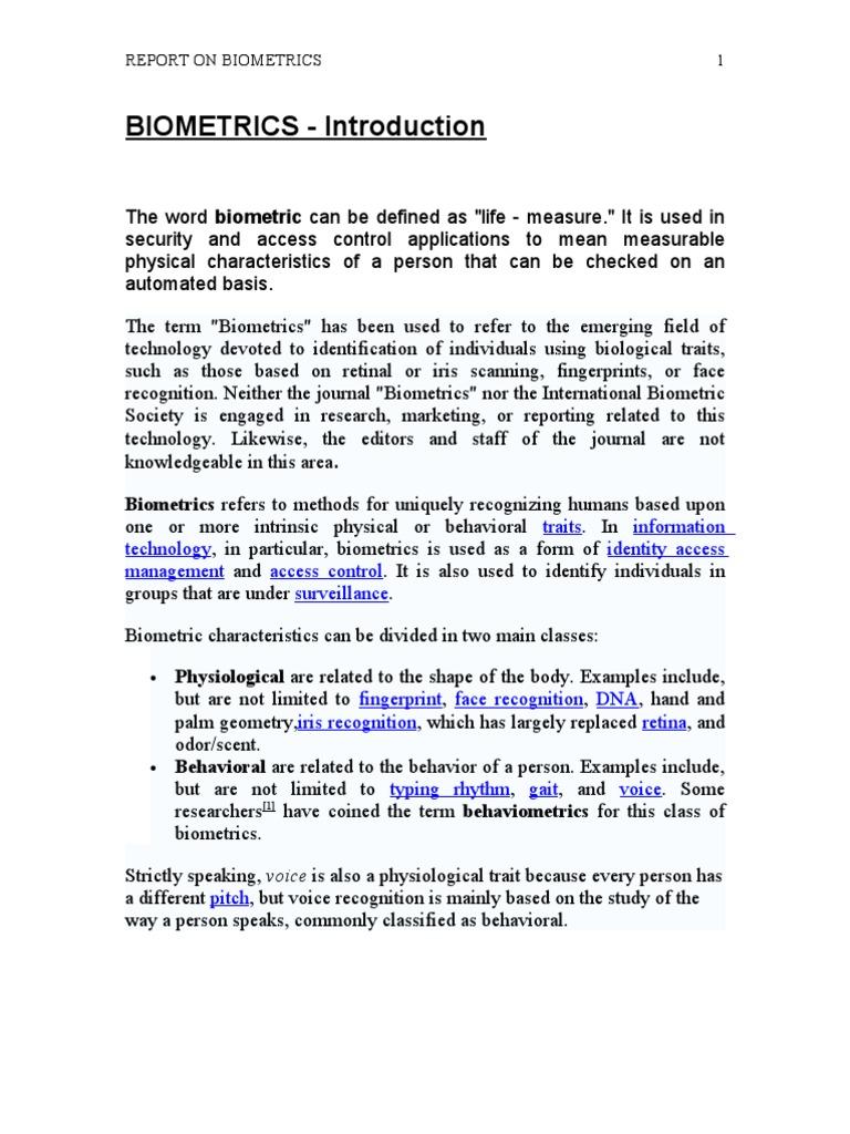 Biometrics | Biometrics | Authentication