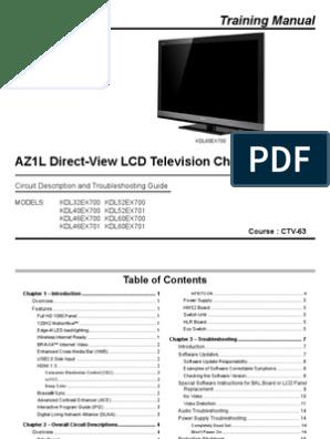 Sony Kdl 32ex700 Kdl 46ex700 Chassis Az1l Training Manual | Hdmi