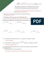 Unit 1 Review Sheet Part I Answer Key