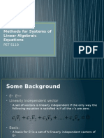 Matrix Solution Methods for Systems of Linear Algebraic