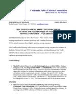 CPUC July 2015 TCP Enforcement