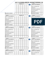 Cleanliness Monitoring Sheet