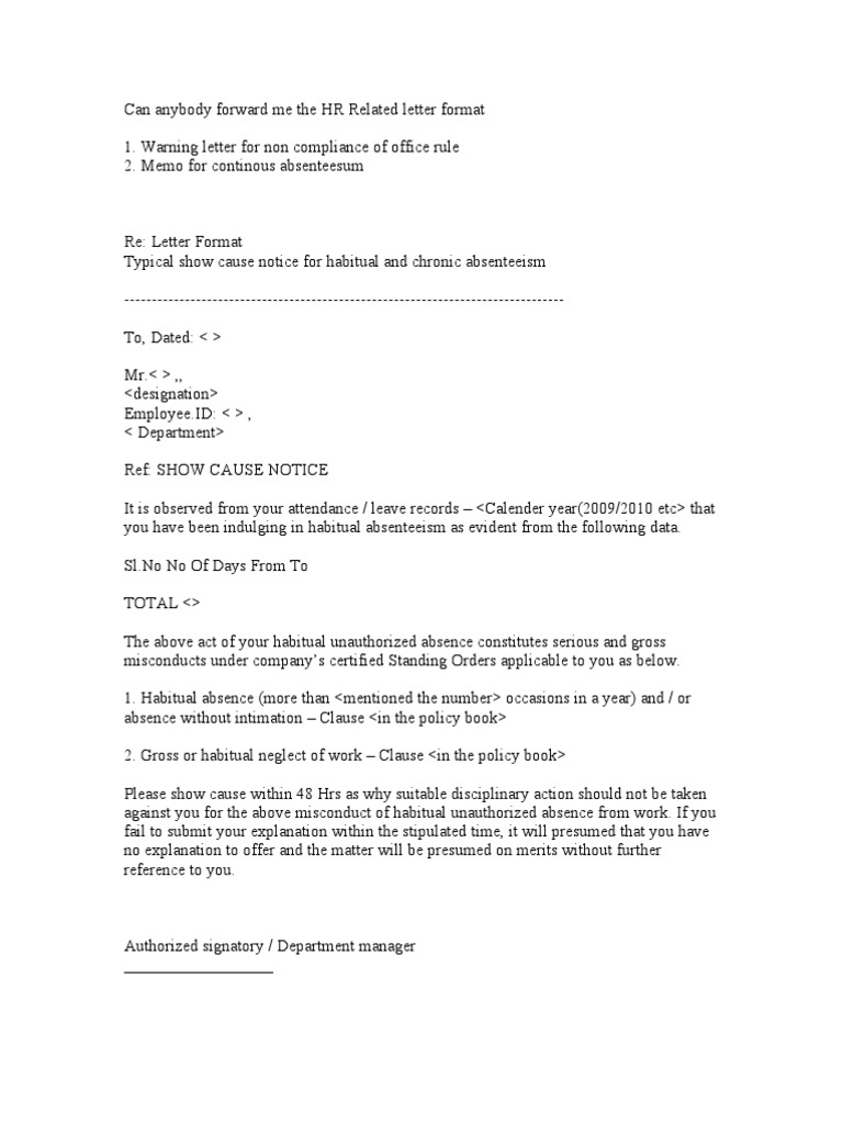 Warning letter in case of absence without information hr related letter format thecheapjerseys Image collections