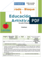Plan 4to Grado - Bloque 1 Educación Artística (2015-2016).doc
