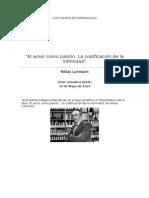 Luhmann El Amor Como Pasic3b3n Itziar Zamalloa