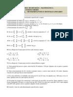 Exercícios de Revisão.determinantes e Sistemas Lineares