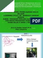 PresePENGARUH MODEL PEMBELAJARAN SIKLUS BELAJAR  (LEARNING CYCLE ) 5E   BERBASIS LANSKAP BUDAYA  SUBAK  TERHADAP PERILAKU BERKELOMPOK  DAN MEDIA PRESENTASI POWER POINT  SISWA KELAS X SMAN 1 PENEBEL   .Dr.Ir.H.Deden Ismail,M.Si. Pita Listyorini