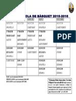 Horaris Entrenament 2015-16