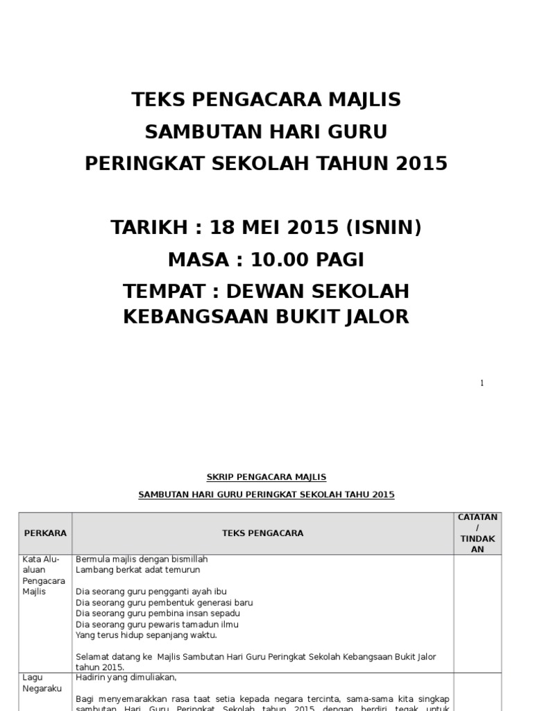 Teks Pengacara Majlis Sambutan Hari Guru Peringkat Sekolah Tahun 2015 Tarikh 18 Mei 2015 Isnin Masa 10 00 Pagi Tempat Dewan Sekolah Kebangsaan Bukit Jalor
