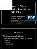TC Advisor-How to View Transfer Credit-SHATRNS