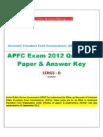 APFC 2012 Question Paper