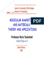 Molecular Magnetism and Materials-Theory and Applications